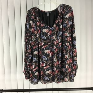 Chelsea & Theodore black floral blouse tie front